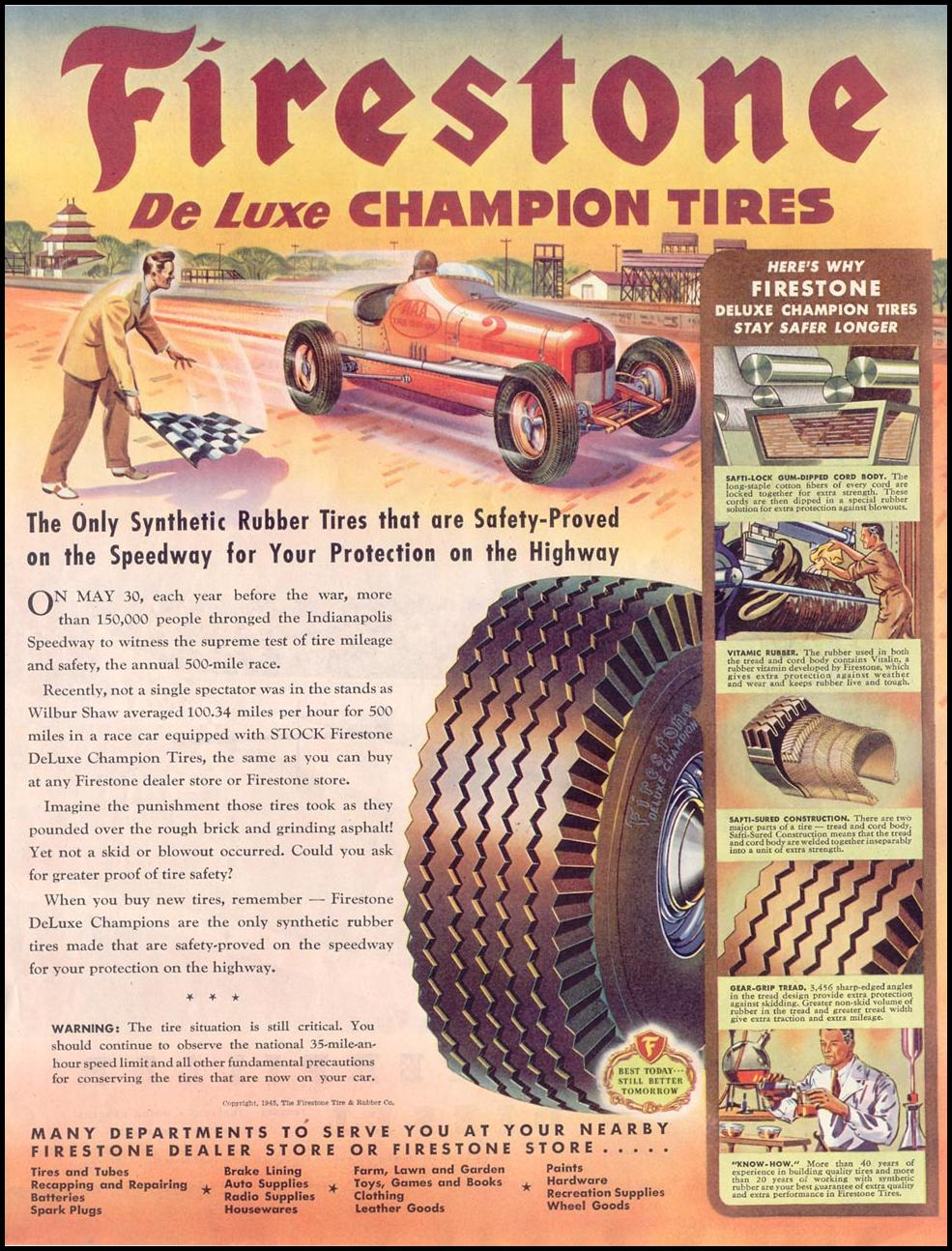FIRESTONE DE LUXE CHAMPION TIRES SATURDAY EVENING POST 05/19/1945