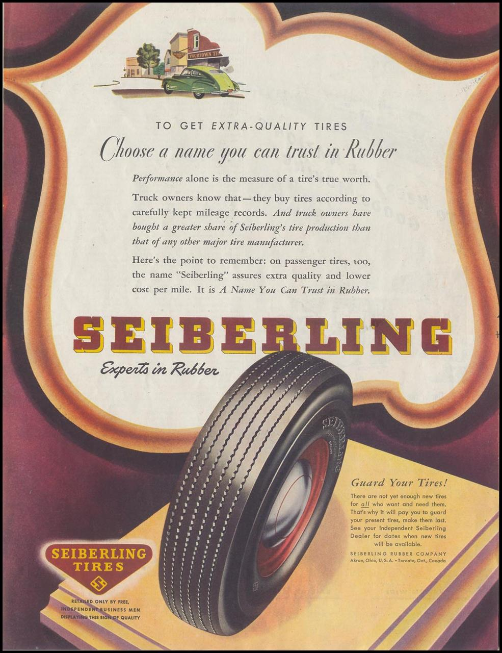 SEIBERLING TIRES SATURDAY EVENING POST 10/06/1945 p. 85