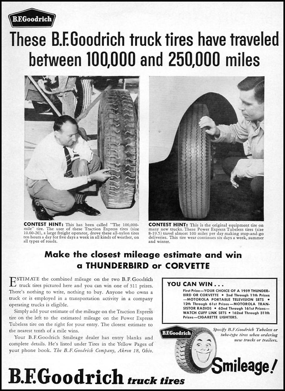 B. F. GOODRICH TRUCK TIRES SPORTS ILLUSTRATED 05/25/1959 p. 1