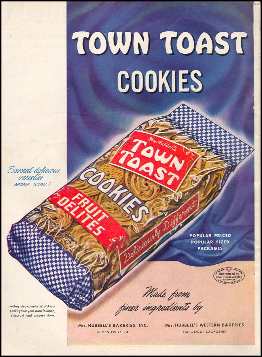 TOWN TOAST COOKIES WOMAN'S DAY 02/01/1947 BACK COVER