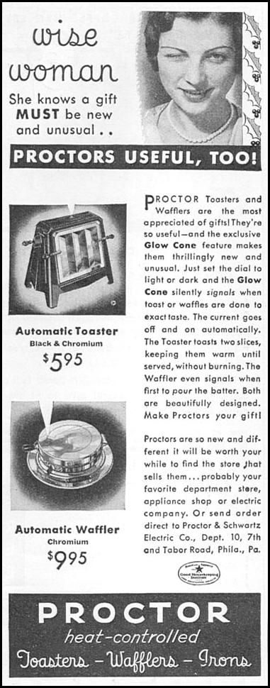PROCTOR HEAT-CONTROLLED TOASTERS, WAFFLERS, AND IRONS GOOD HOUSEKEEPING 12/01/1933 p. 183