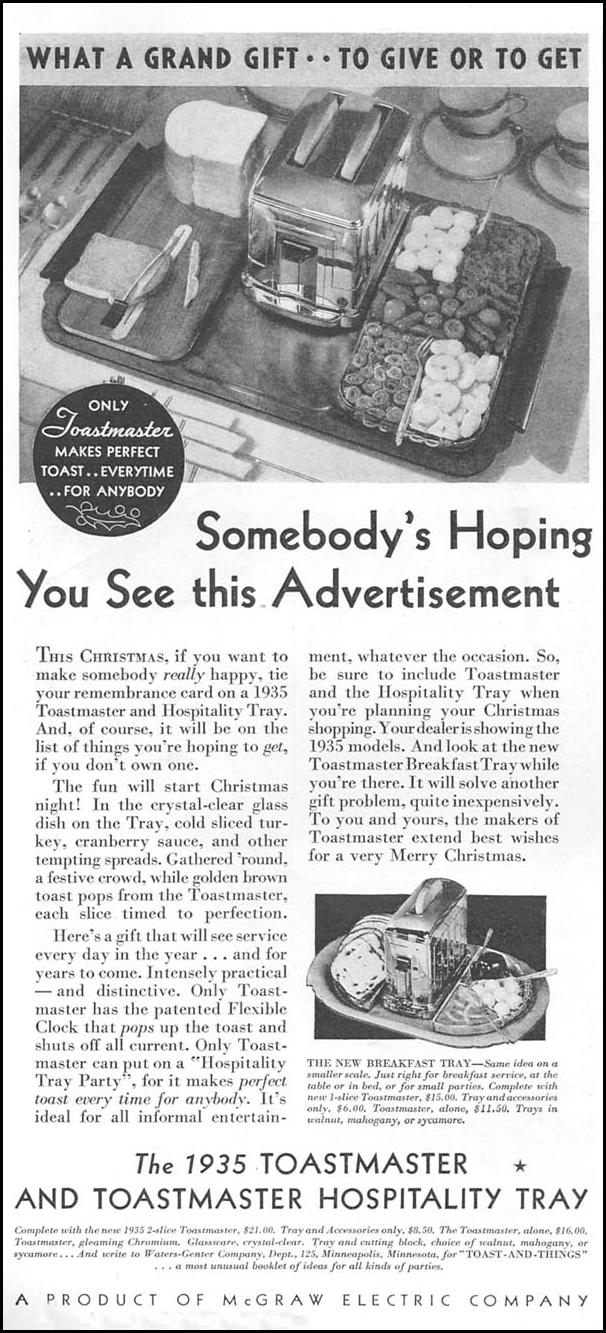 THE 1935 TOASTMASTER HOSPITALITY TRAY GOOD HOUSEKEEPING 12/01/1934 p. 182