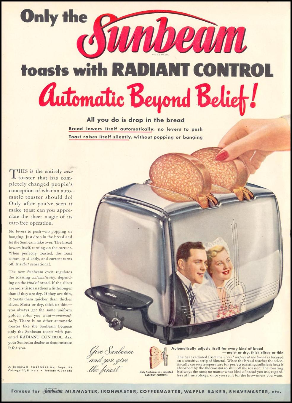 SUNBEAM AUTOMATIC TOASTER WITH RADIANT CONTROL LIFE 06/05/1950 p. 46