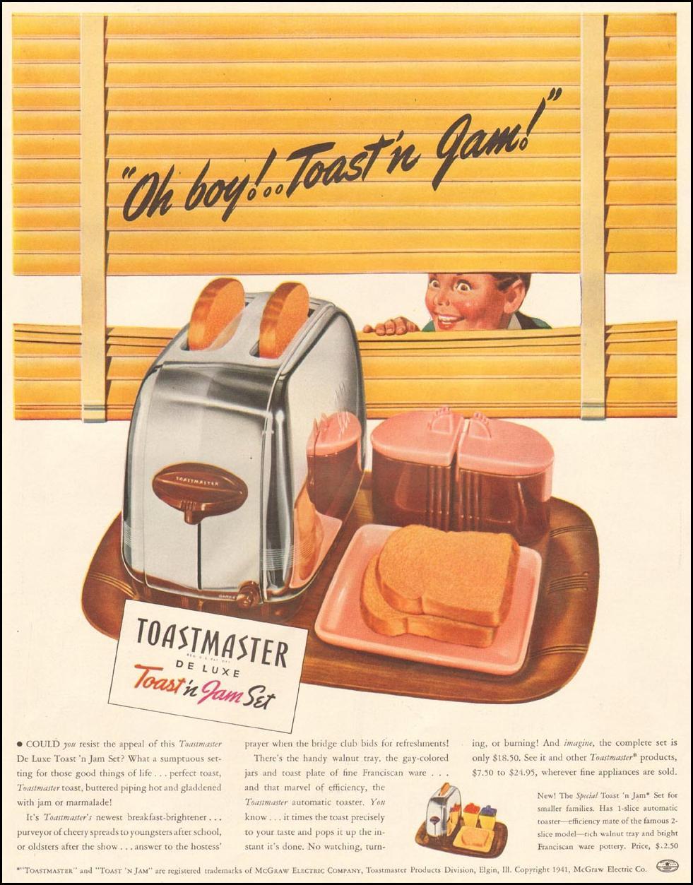 TOASTMASTER TOAST 'N JAM SET LIFE 09/29/1941 p. 57