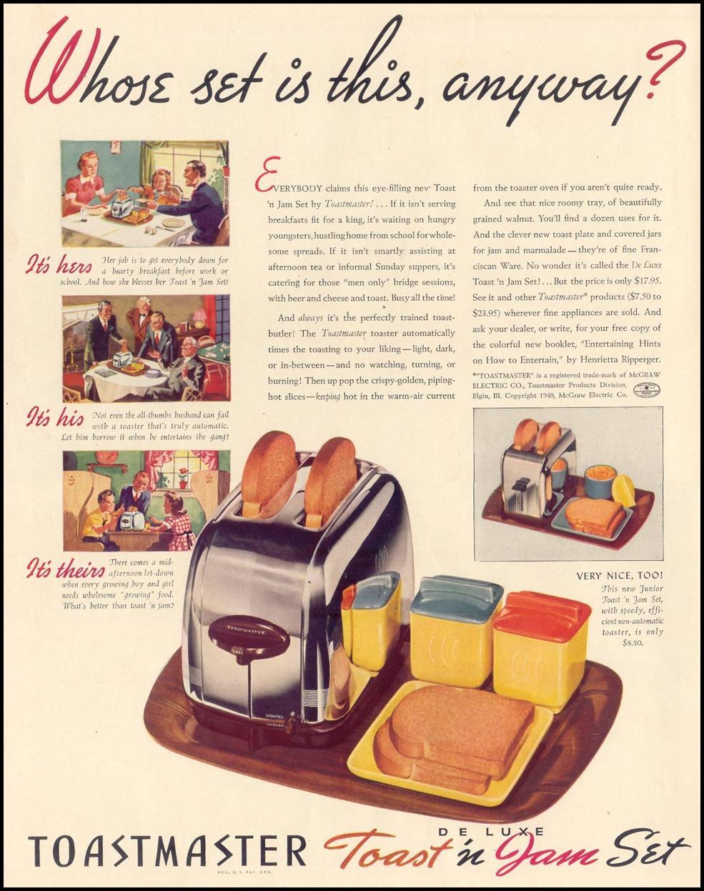 TOASTMASTER TOAST 'N' JAM SET LIFE 09/30/1940