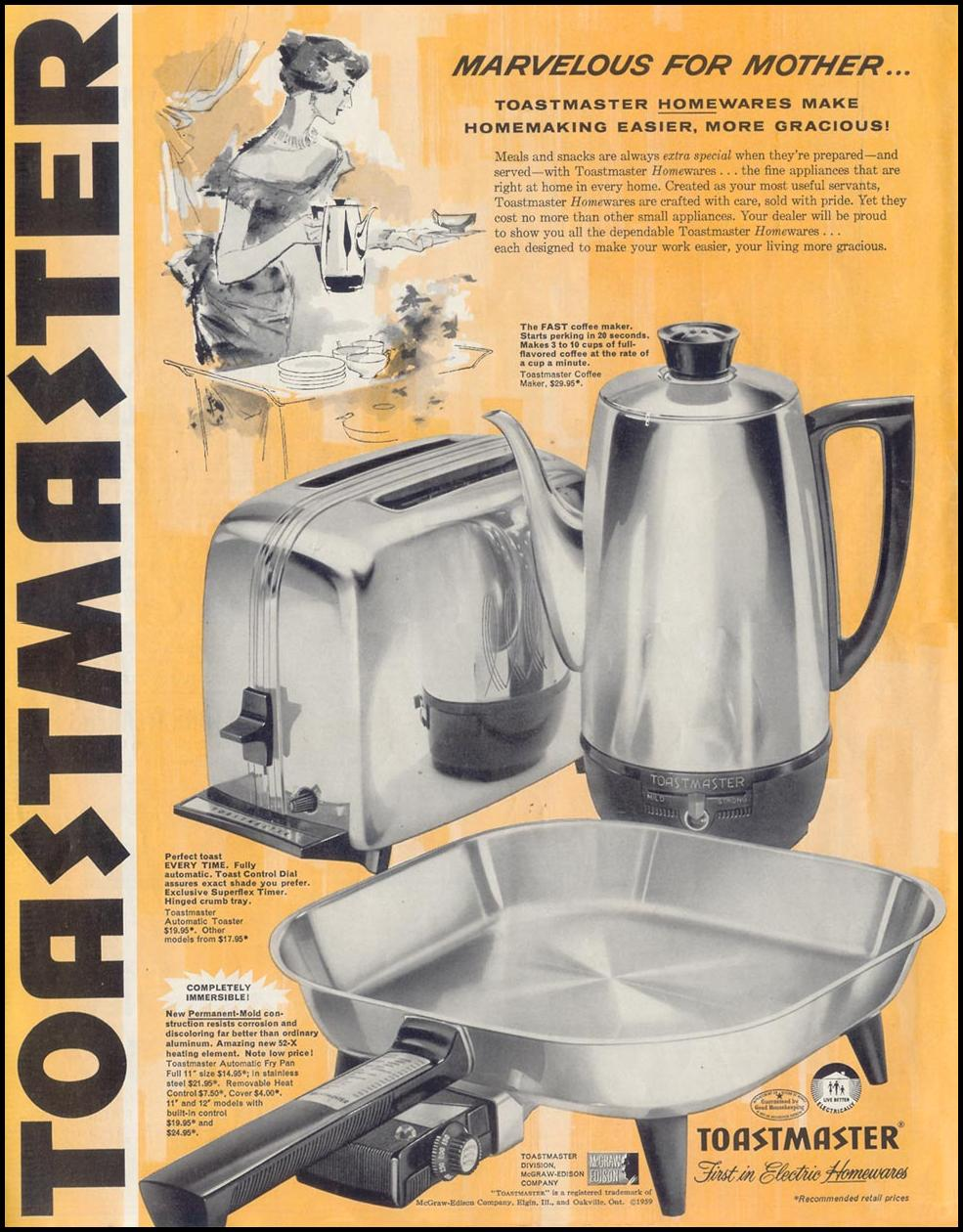 TOASTMASTER KITCHEN APPLIANCES SATURDAY EVENING POST 05/02/1959 p. 96