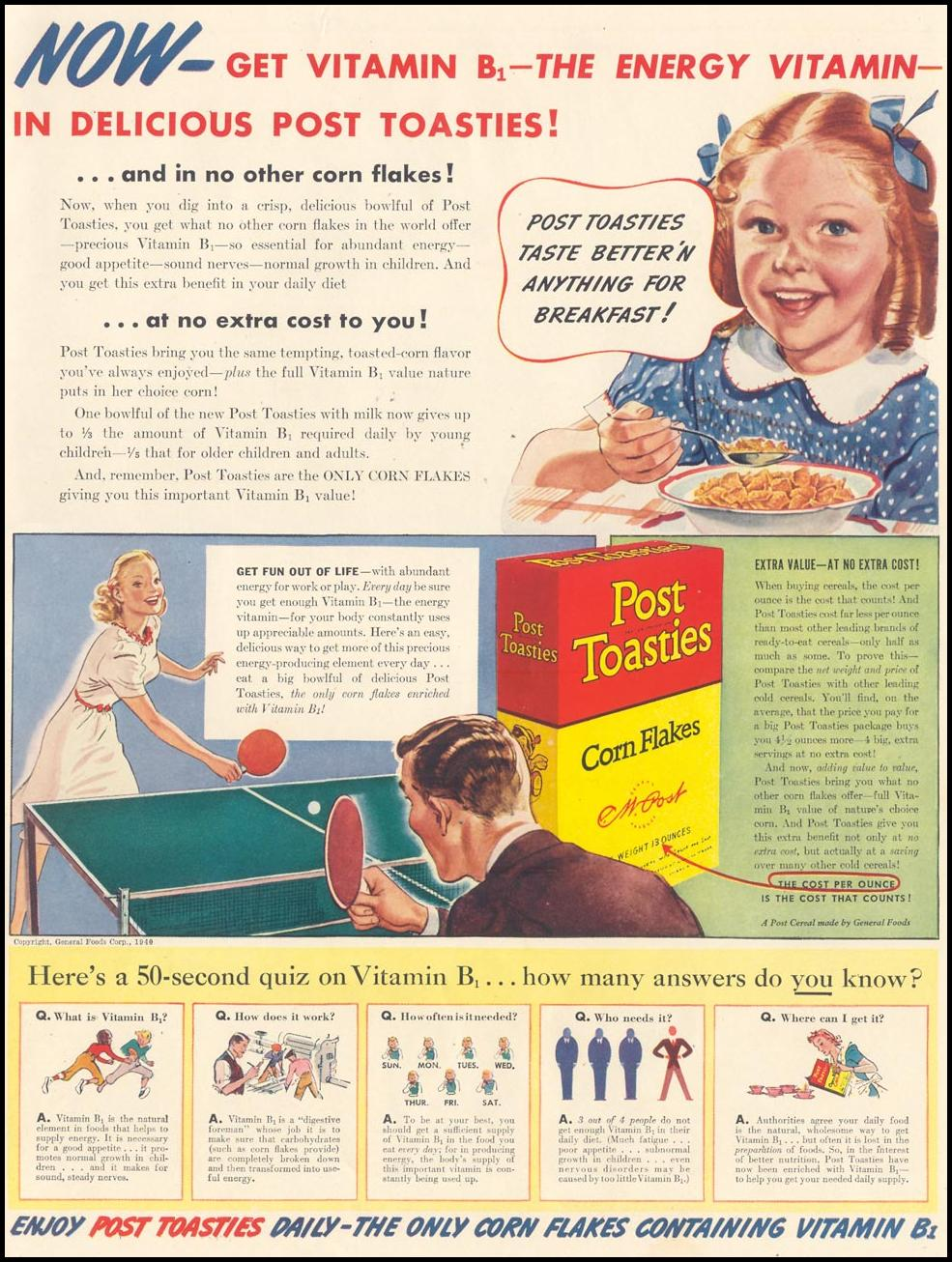 POST TOASTIES CORN FLAKES LIFE 09/30/1940