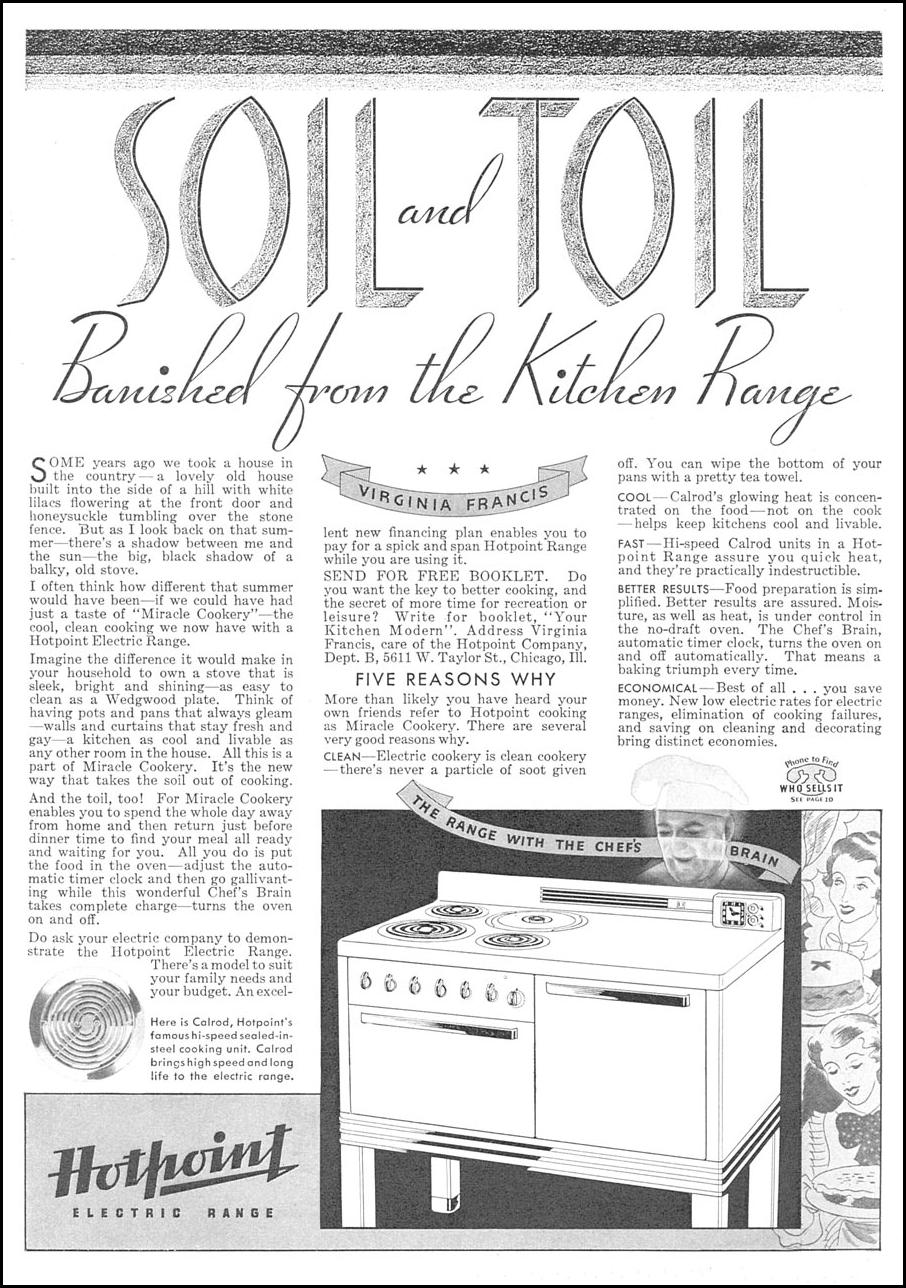 HOTPOINT ELECTRIC RANGES GOOD HOUSEKEEPING 12/01/1934 p. 155