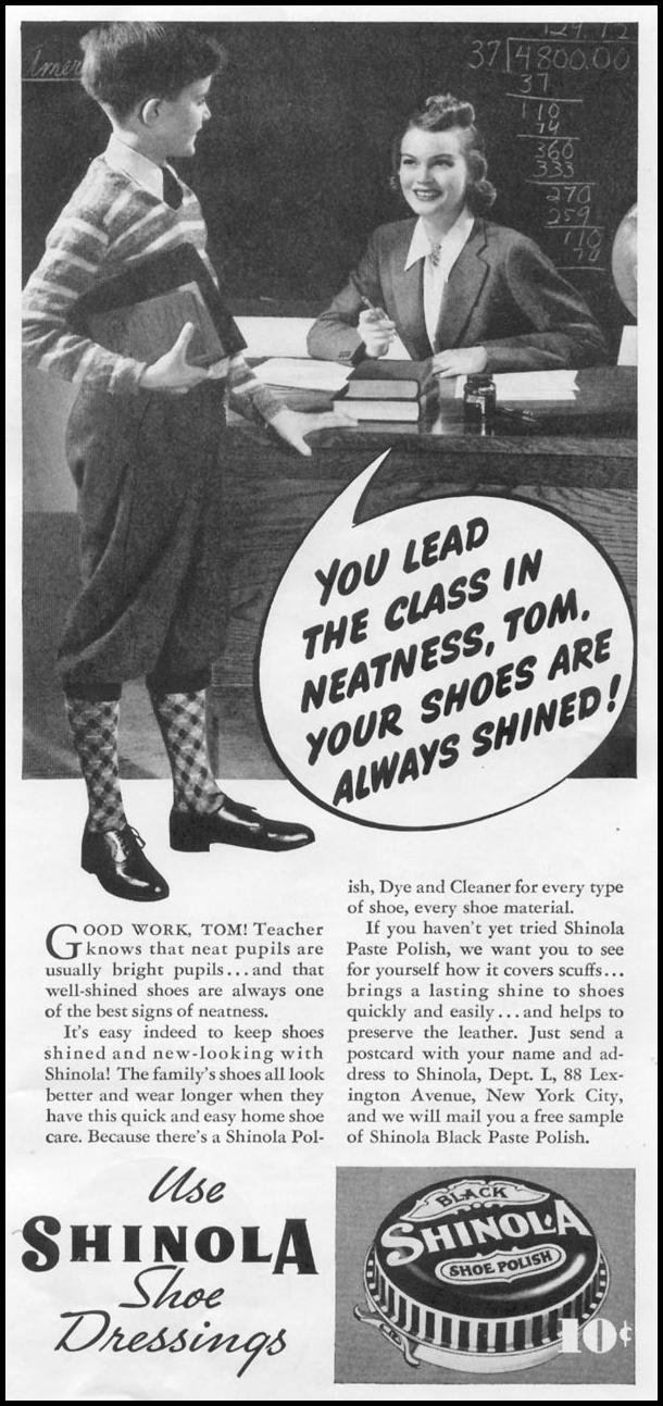 SHINOLA SHOE POLISH WOMAN'S DAY 06/01/1939 p. 39