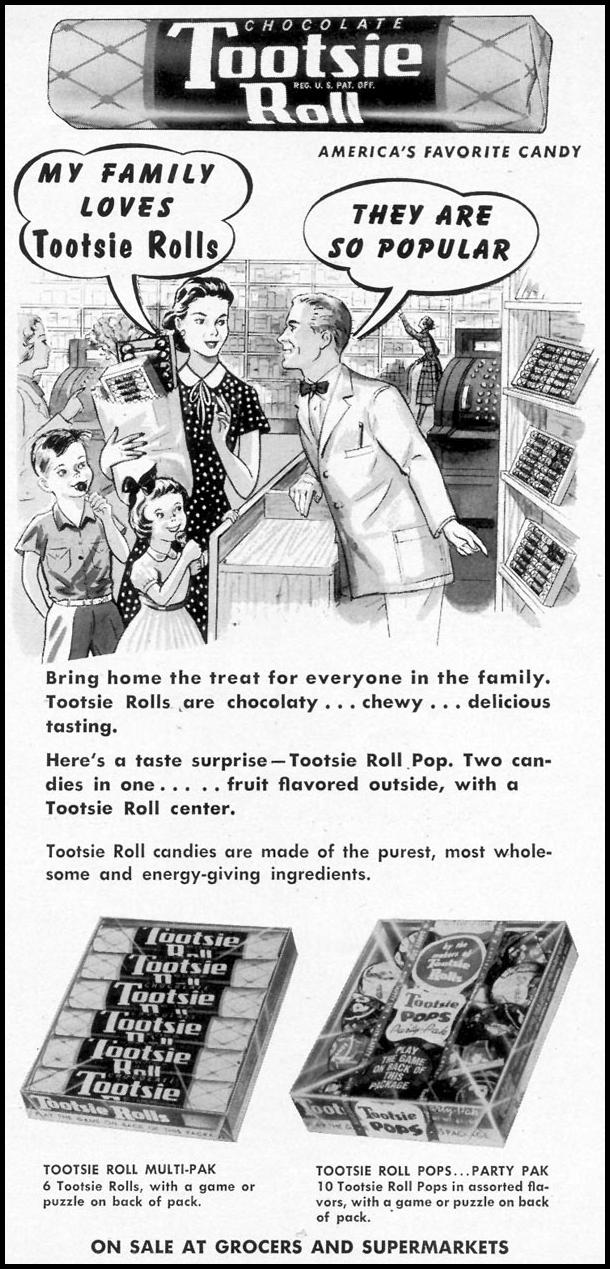 TOOTSIE ROLL WOMAN'S DAY 07/01/1955 p. 127