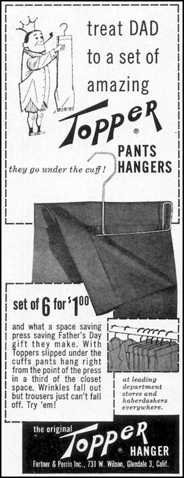 TOPPER PANTS HANGERS SATURDAY EVENING POST 06/04/1955 p. 106
