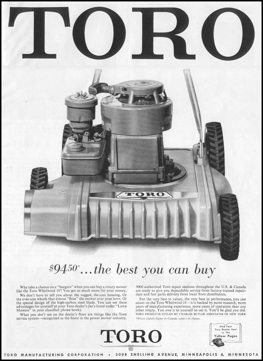 TORO LAWNMOWERS LIFE 04/08/1957 p. 73
