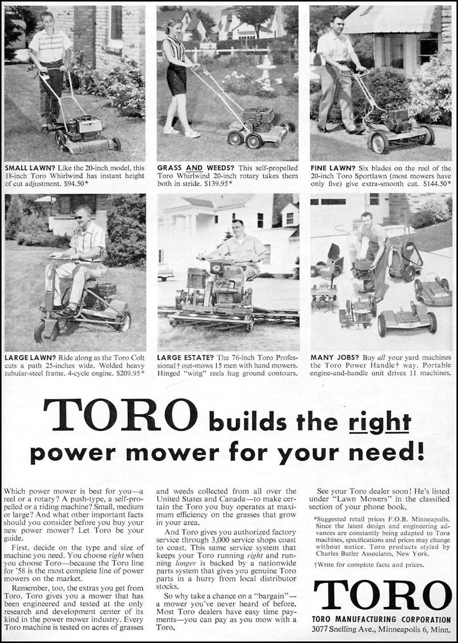 TORO LAWN MOWERS TIME 05/05/1958 p. 85