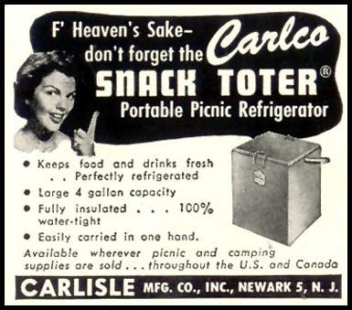 CARLCO SNACK TOTER PORTABLE PICNIC REFRIGERATOR LIFE 07/06/1953 p. 86