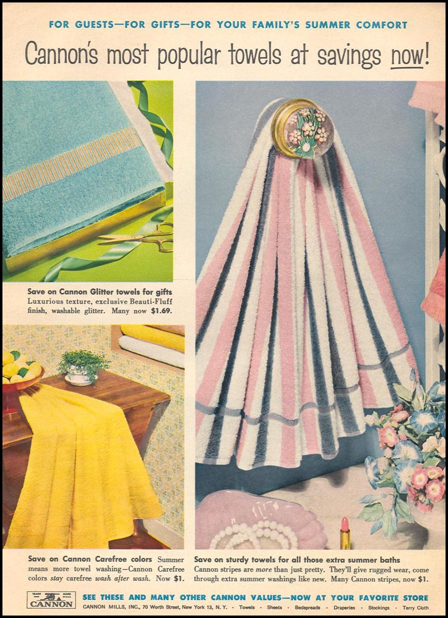 CANNON TOWELS WOMAN'S DAY 06/01/1958 p. 17