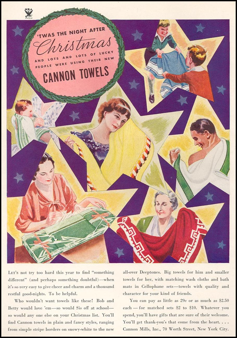 CANNON TOWELS GOOD HOUSEKEEPING 12/01/1933 INSIDE FRONT
