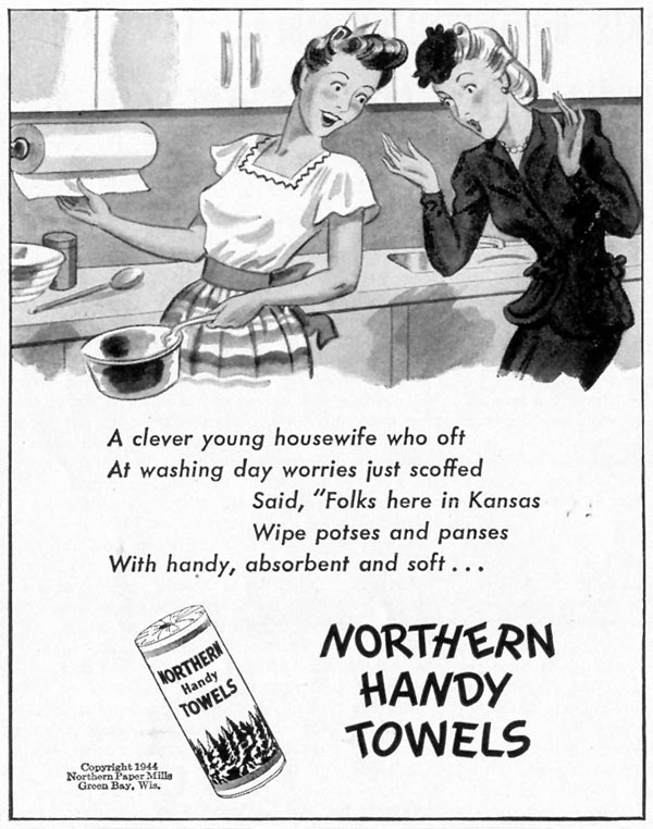 NORTHERN HANDY TOWELS LIFE 02/21/1944 p. 98