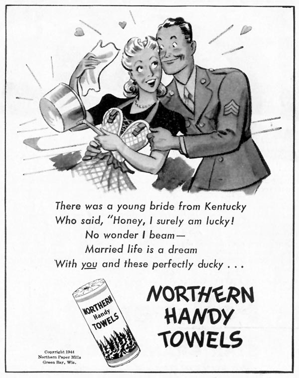 NORTHERN HANDY TOWELS LIFE 02/28/1944 p. 92