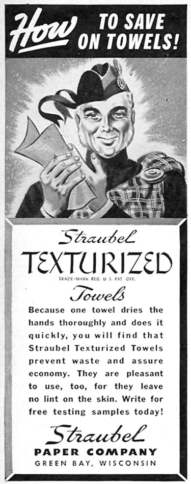 STRAUBEL TEXTURIZED TOWELS TIME 11/02/1942 p. 102