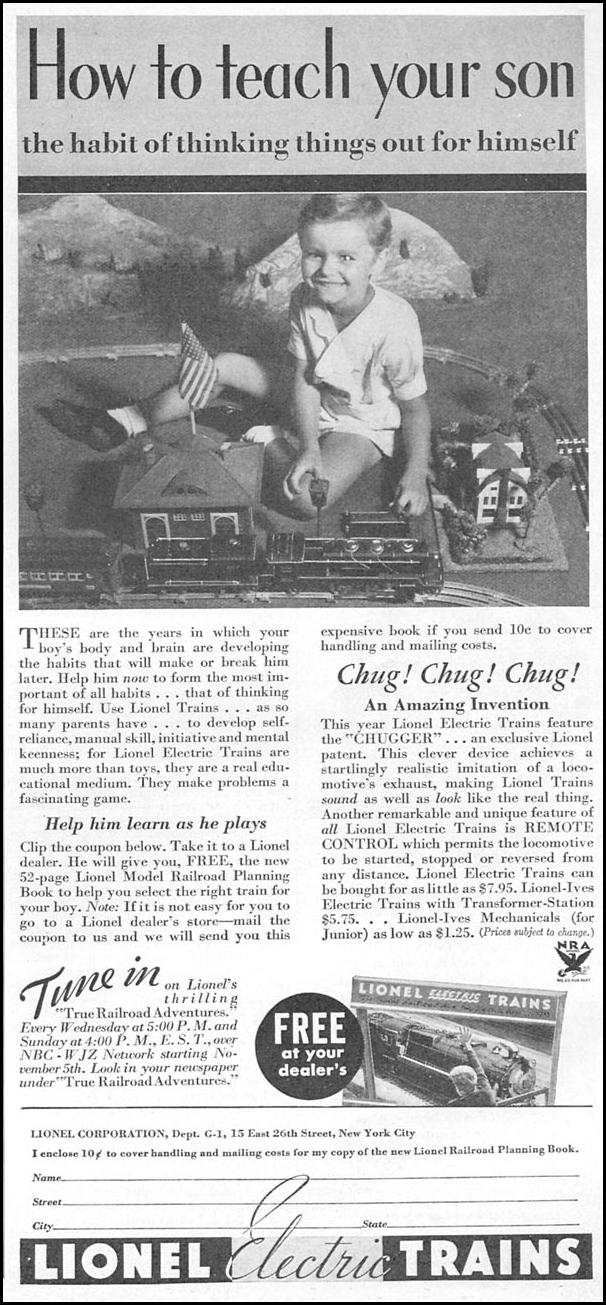LIONEL MODEL TRAINS GOOD HOUSEKEEPING 12/01/1933 p. 189