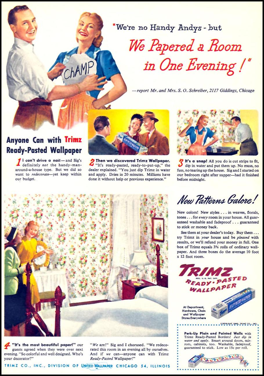 TRIMZ READY-PASTED WALLPAPER WOMAN'S DAY 10/01/1946 p. 21