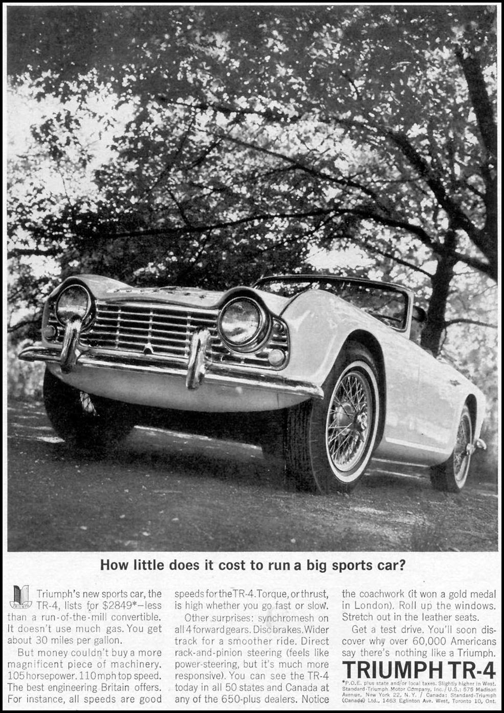 TRIUMPH TR-4 SPORTS CAR TIME 07/13/1962 p. 45