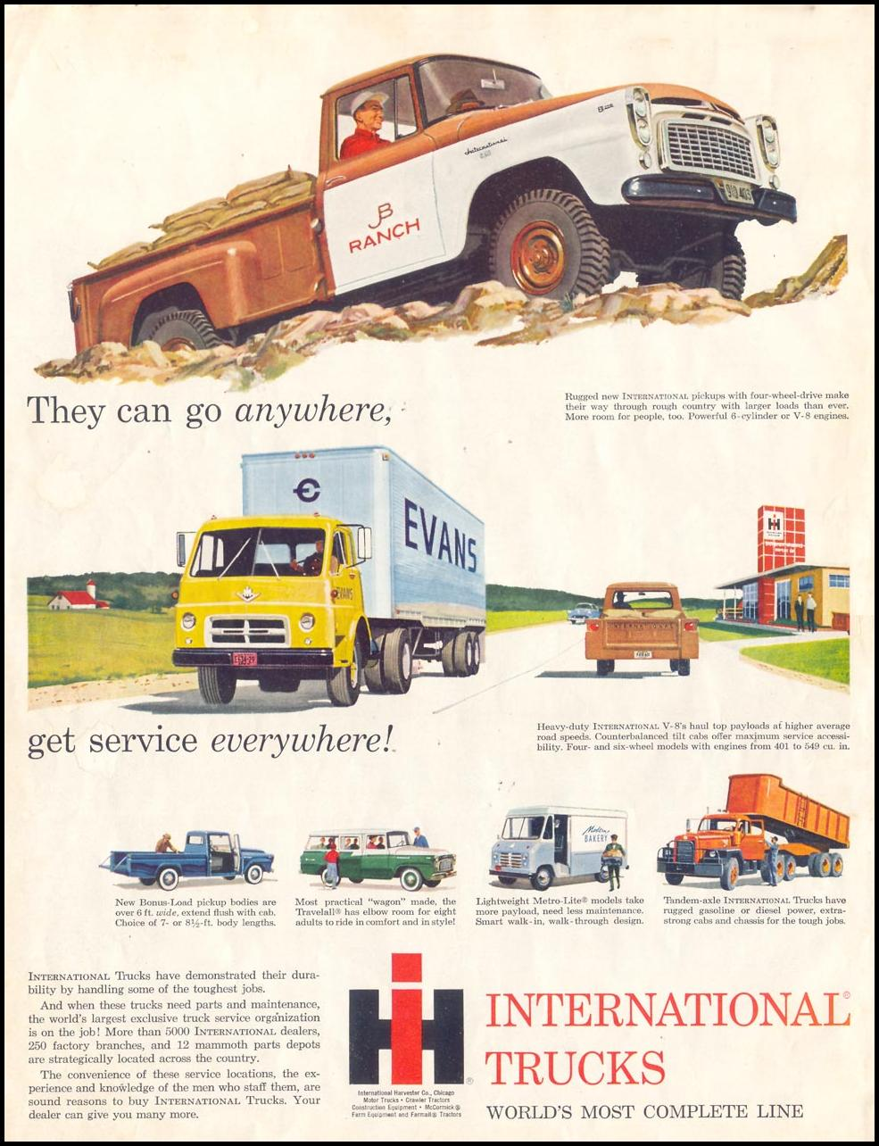 INTERNATIONAL TRUCKS SATURDAY EVENING POST 08/15/1959 INSIDE FRONT