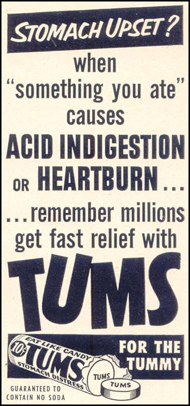 TUMS ANTACID WOMAN'S DAY 03/01/1954 p. 150