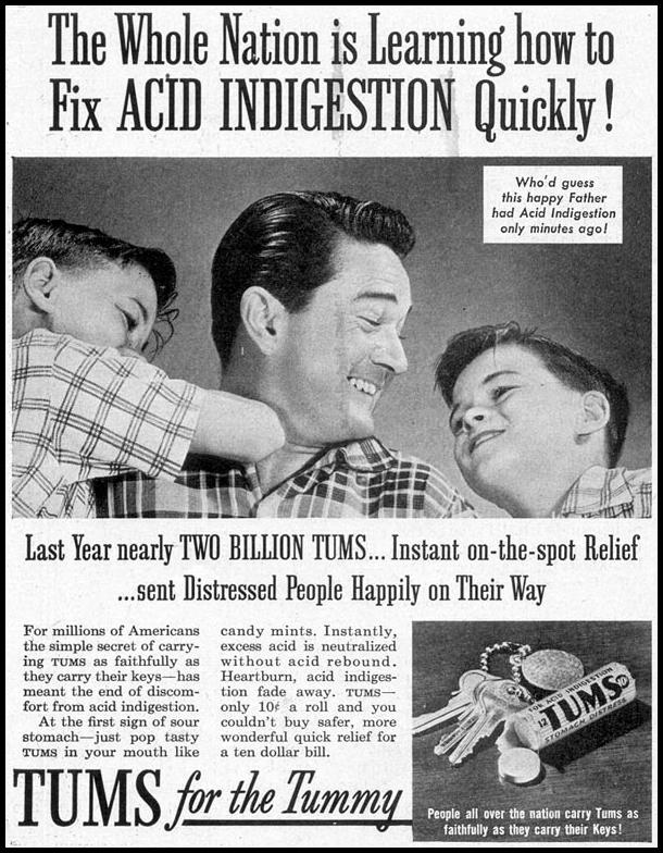 TUMS ANTACID SATURDAY EVENING POST 04/09/1955 p. 120