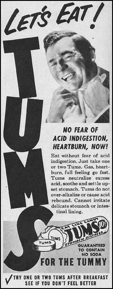 TUMS ANTACID WOMAN'S HOME COMPANION 12/01/1952 p. 96