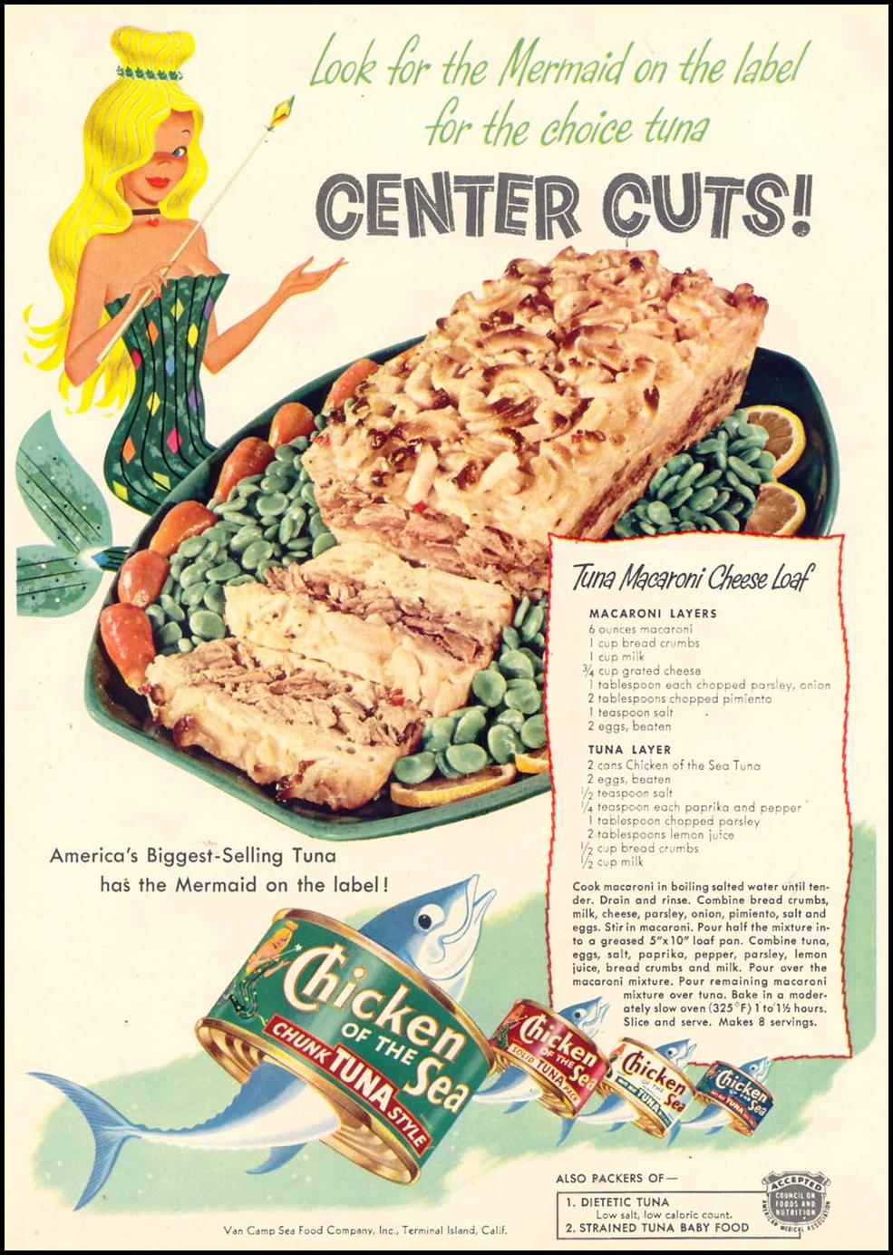 CHICKEN OF THE SEA CANNED TUNA WOMAN'S DAY 03/01/1954 p. 66