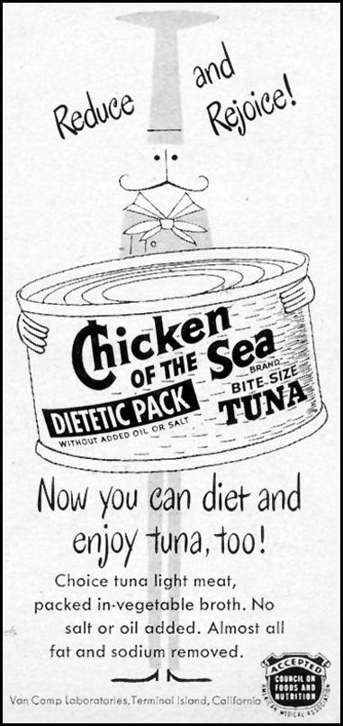 CHICKEN OF THE SEA DIETETIC PACK TUNA WOMAN'S DAY 03/01/1954 p. 148