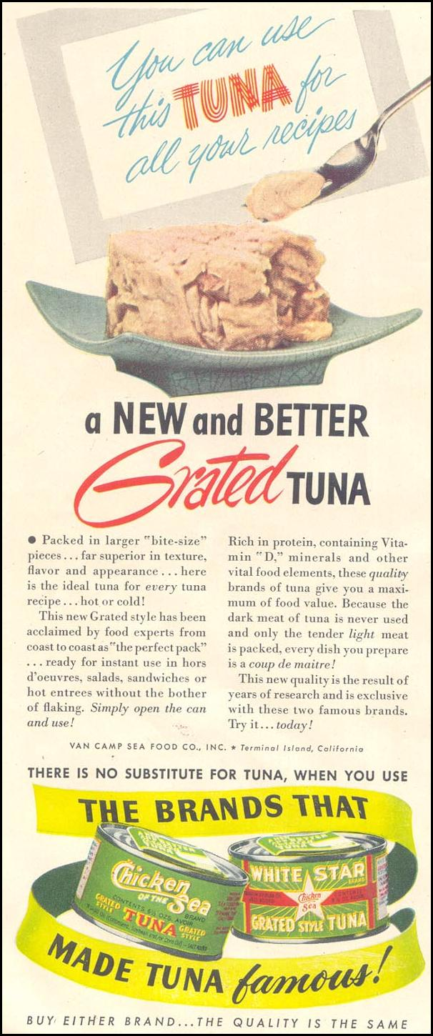 CHICKEN OF THE SEA CANNED TUNA GOOD HOUSEKEEPING 07/01/1948 p. 164