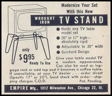WROUGHT IRON TV STAND LIFE 04/13/1953 p. 20