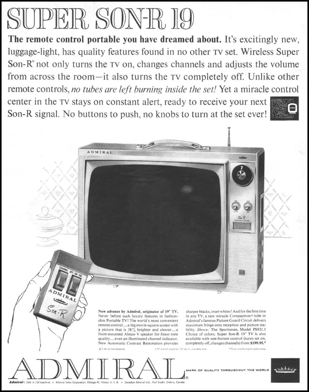 ADMIRAL PORTABLE TELEVISIONS LIFE 05/05/1961
