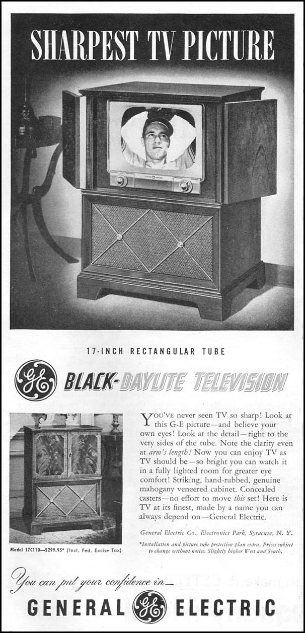 17 INCH RECTANGULAR TUBE BLACK-DAYLIGHT TELEVISION NEWSWEEK 09/03/1951 p. 2