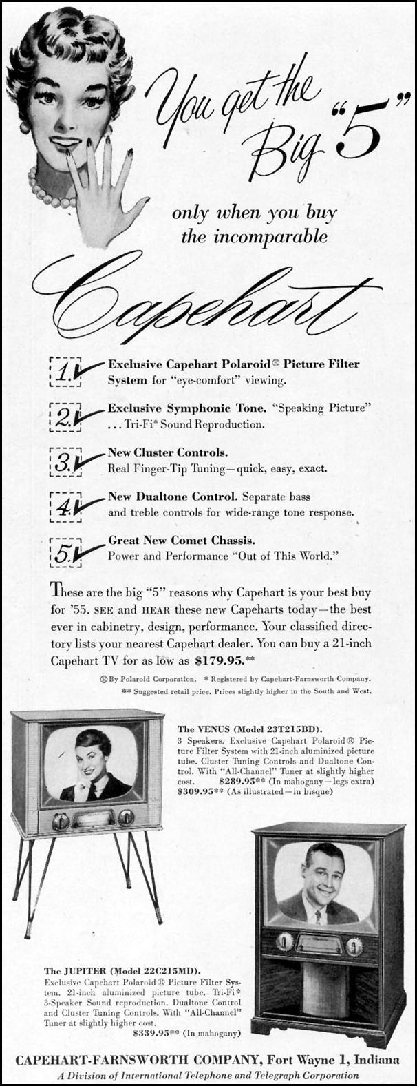 CAPEHART-FARNSWORTH TELEVISIONS SATURDAY EVENING POST 04/09/1955 p. 98