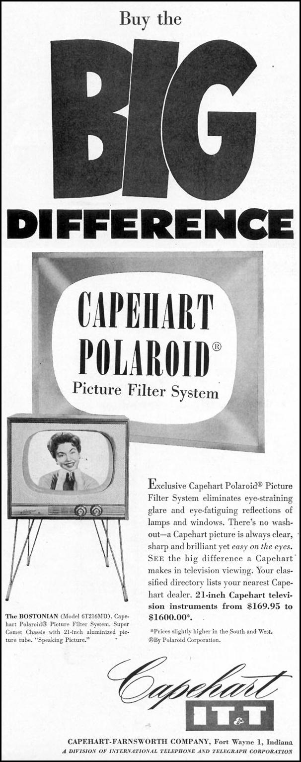 CAPEHART POLAROID PICTURE FILTER SYSTEM SATURDAY EVENING POST 10/29/1955 p. 107