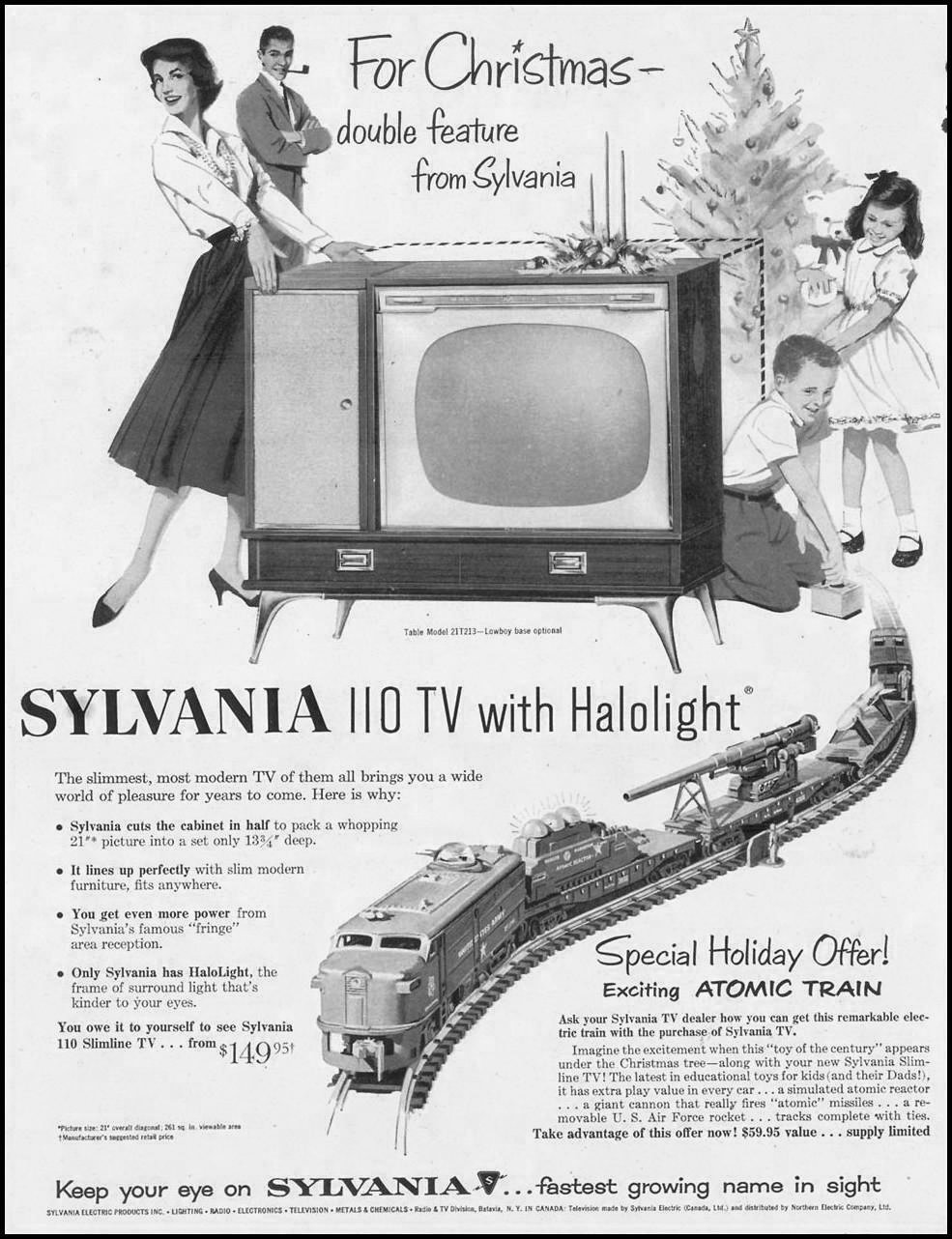 SYLVANIA 110 TV WITH HALOLIGHT SATURDAY EVENING POST 11/11/1957 p. 70
