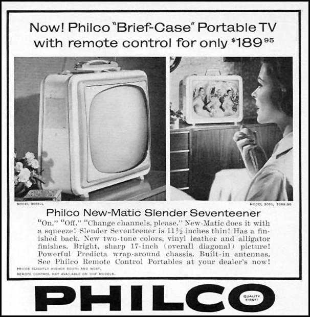 PHILCO NEW-MATIC SLENDER SEVENTEENER PORTABLE TELEVISION SPORTS ILLUSTRATED 04/27/1959 p. 79