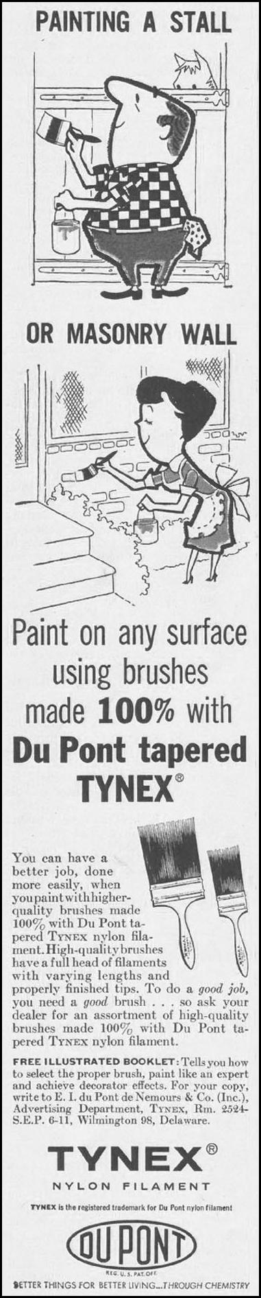 TYNEX NYLON FILAMENT PAINT BRUSHES SATURDAY EVENING POST 06/11/1960 p. 66
