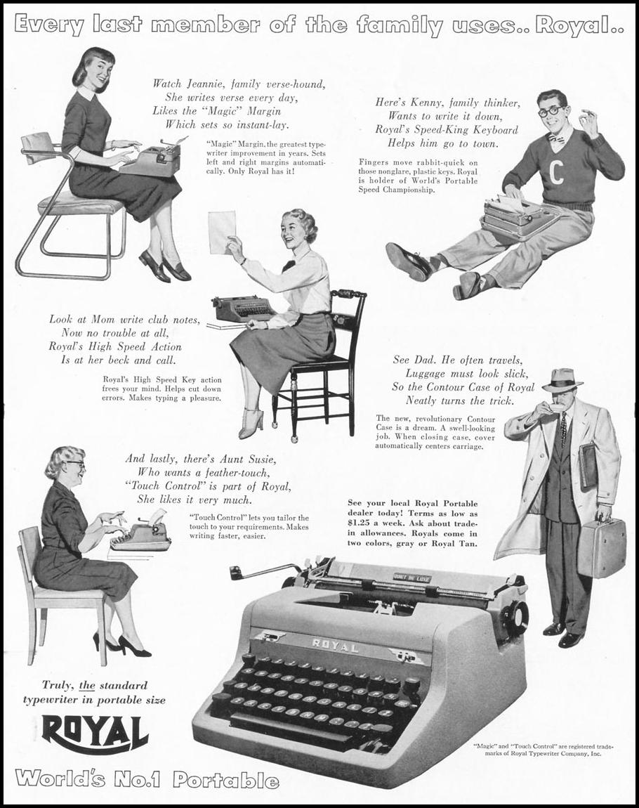 ROYAL PORTABLE TYPEWRITERS LIFE 01/21/1952 p. 37