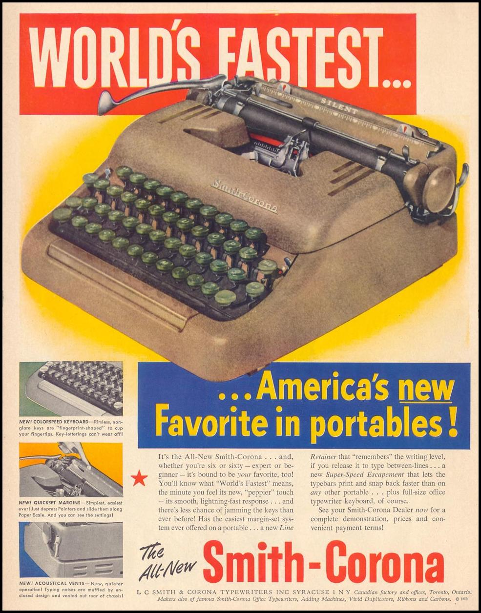 SMITH-CORONA PORTABLE TYPEWRITERS LIFE 04/17/1950 p. 128