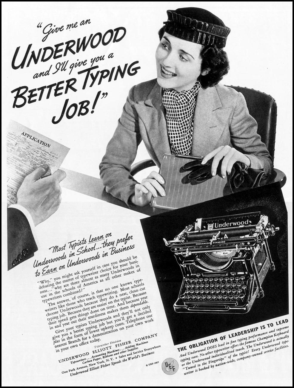 UNDERWOOD TYPEWRITERS LIFE 09/13/1937 p. 2