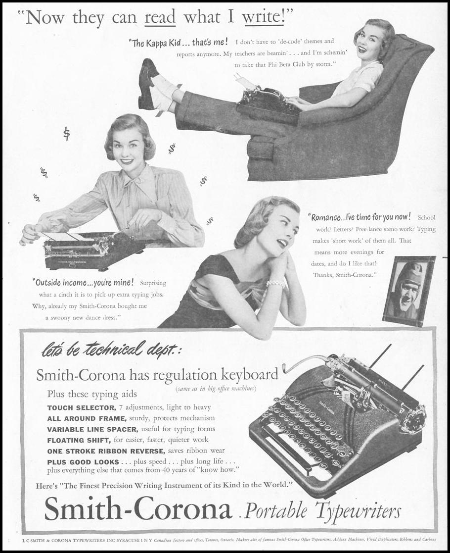 SMITH-CORONA PORTABLE TYPEWRITERS LIFE 10/11/1948 p. 109