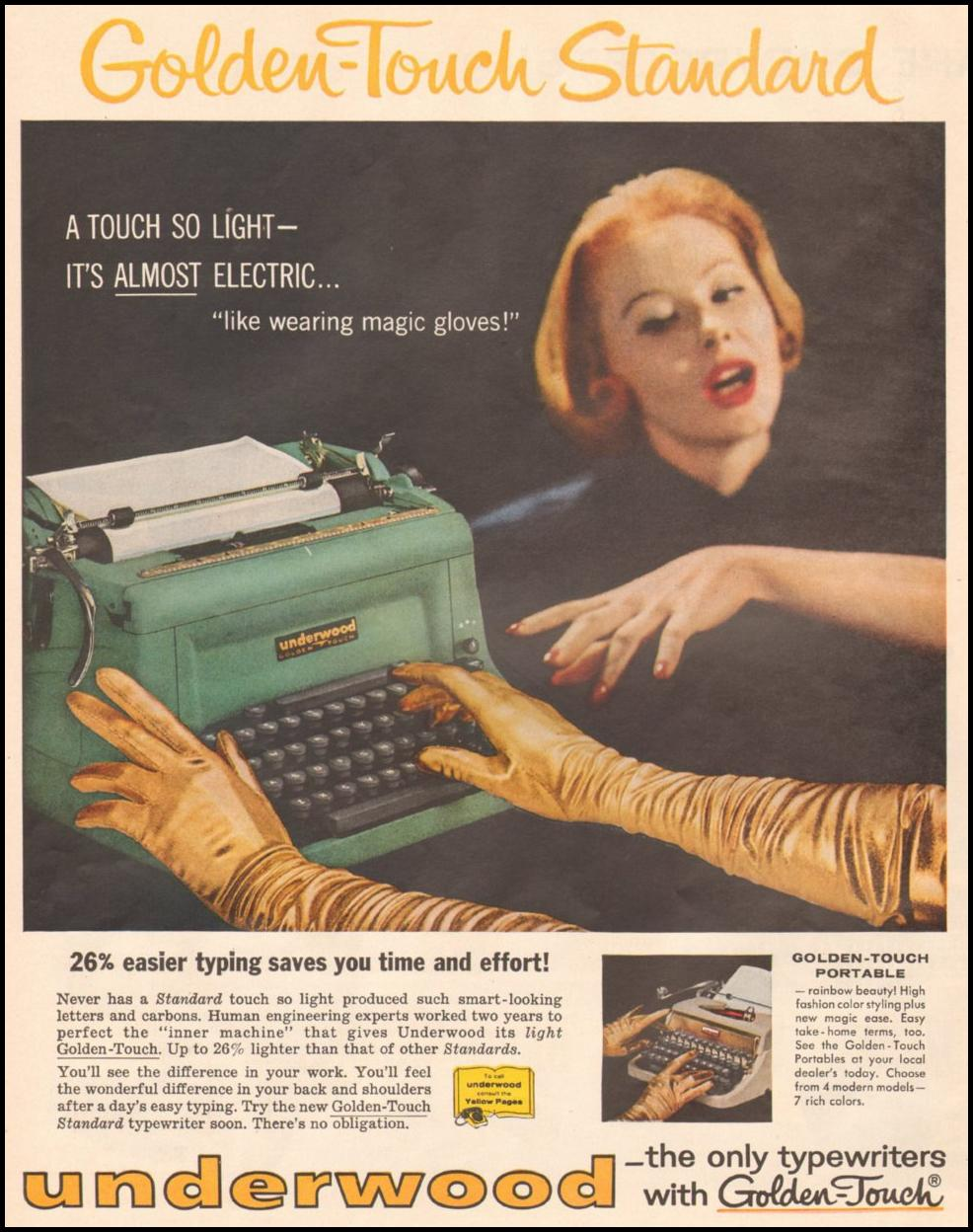 UNDERWOOD TYPEWRITERS LIFE 05/19/1958 p. 62