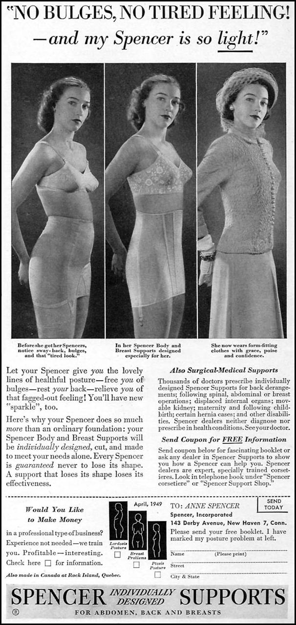 SPENCER SUPPORTS FOR ABDOMEN, BACK, AND BREASTS WOMAN'S DAY 04/01/1949 p. 111