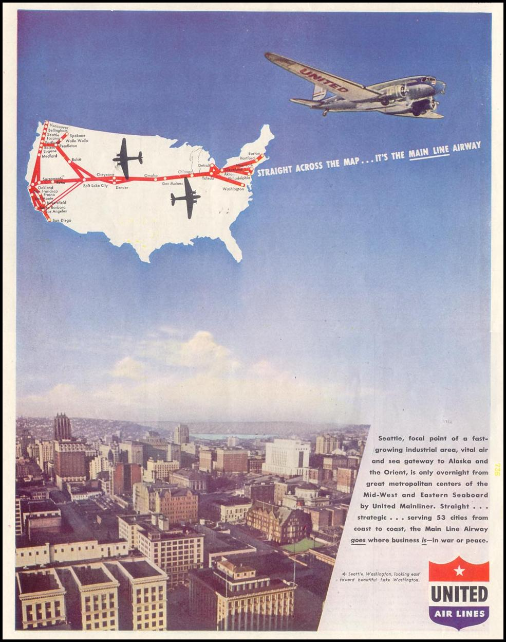 AIR TRAVEL SATURDAY EVENING POST 10/06/1945 p. 92