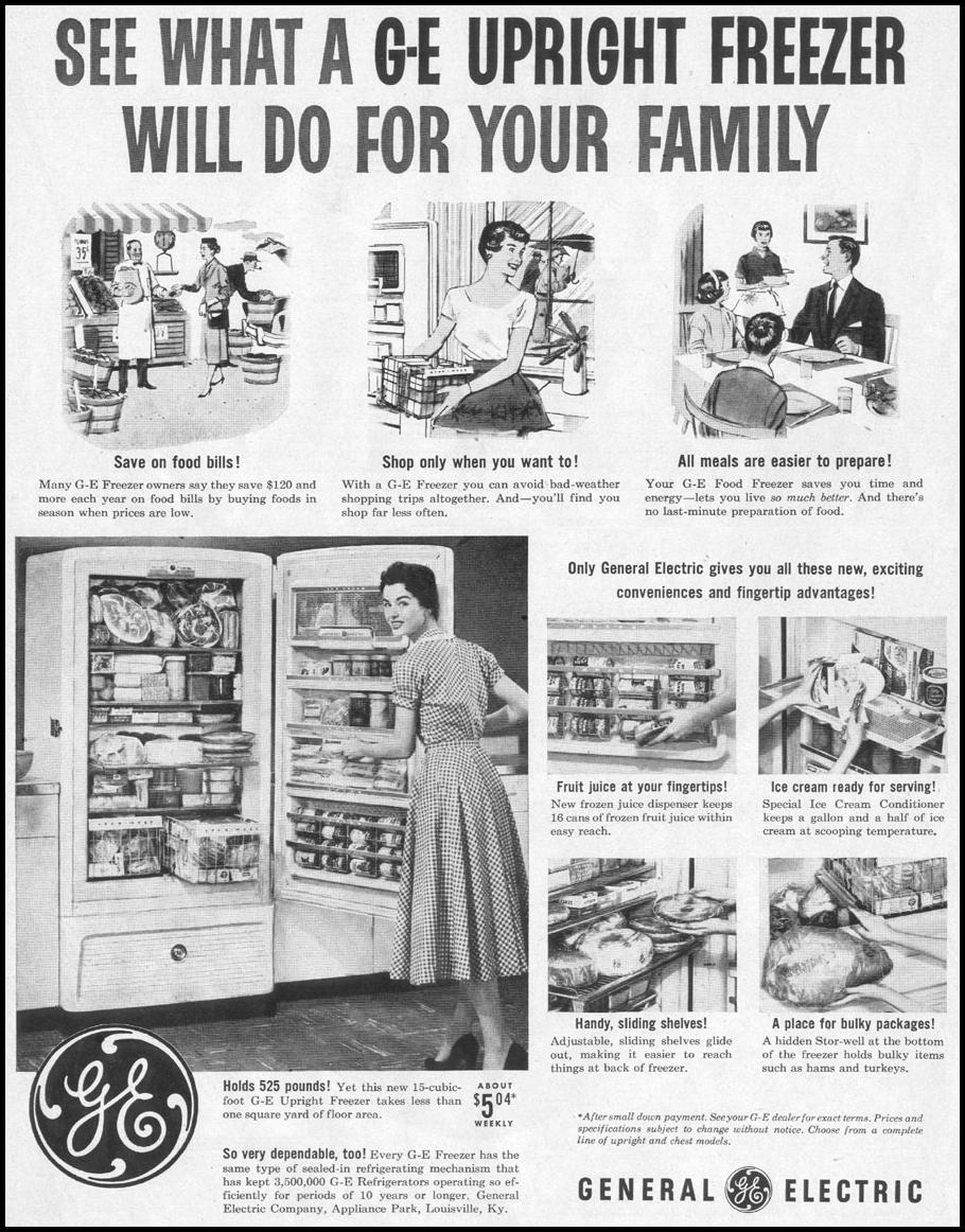 G. E. UPRIGHT FREEZER LIFE 07/12/1954 p. 62