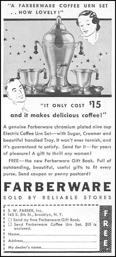 FARBERWARE COFFEE URN SET GOOD HOUSEKEEPING 12/01/1933 p. 184